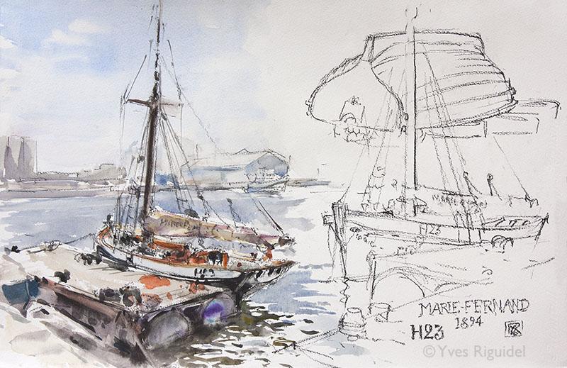 Planche réalisée au Havre autour du Marie-Fernand.